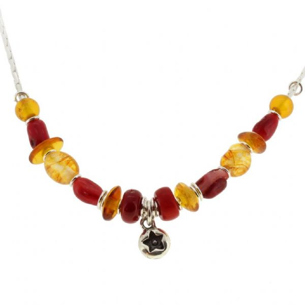 Star Necklace,  red gemstones. Amber beads. our no.4A